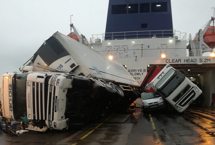 Vehicles toppled over on board European Causeway
