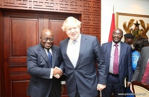 H.E. Nana Akufo Addo, President of Ghana shaking hands with British PM Boris Johnson.