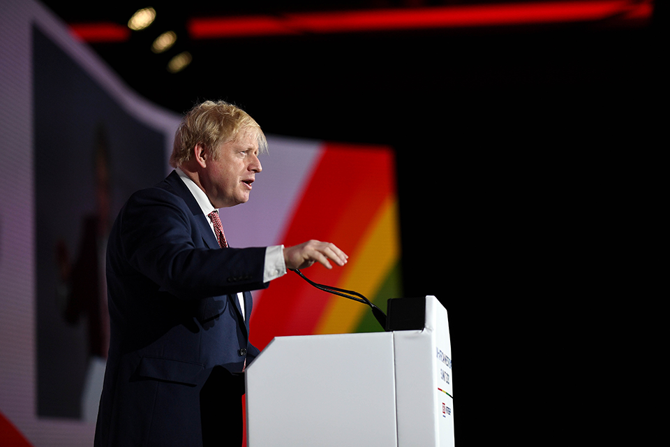 Prime Minister Boris Johnson speaking at the UK-Africa Investment Summit