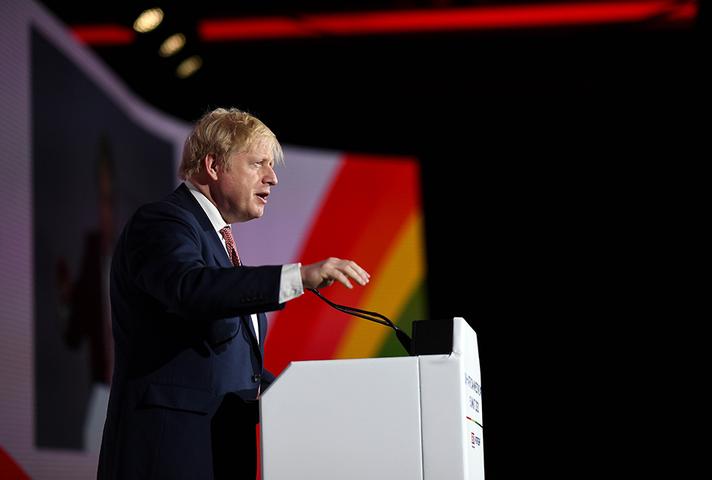 Prime Minister Boris Johnson speaking at the UK-Africa Investment Summit