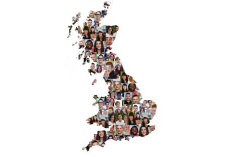 map of Britain with faces of people across it