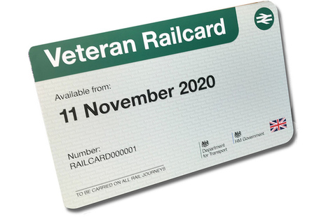 Image of the veterans railcard.