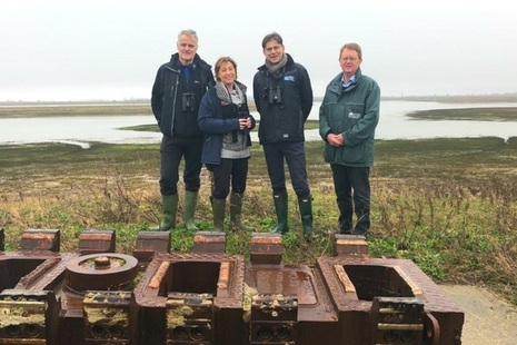 Minister Rebecca Pow with RSPB's Martin Harper (centre right), Natural England's Aidan Lonergan (far left) and Paul Miller, of the Environment Agency at Wallasea