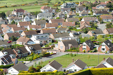 Aerial view of an urban housing development in Deganwy, Wales