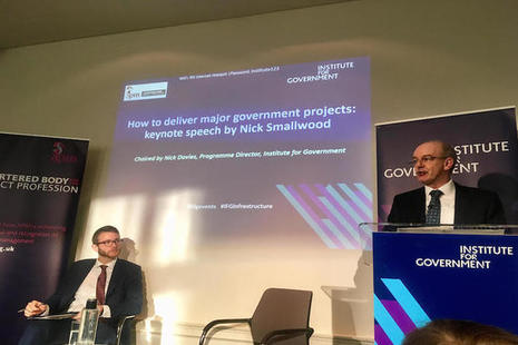 Nick Smallwood speaking at the Institute for Government on major project delivery