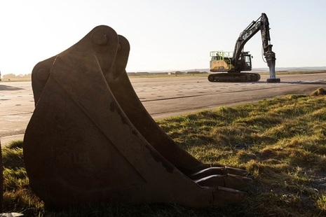 Construction equipment at RAF Lossiemouth