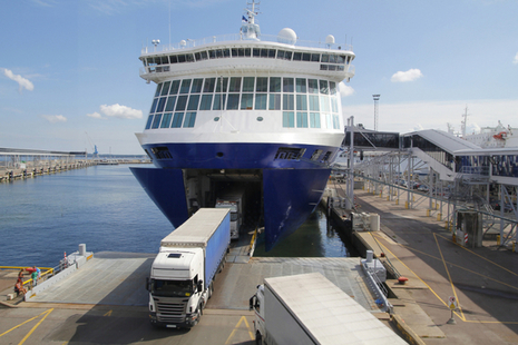Photo of a lorry driving off a ferry