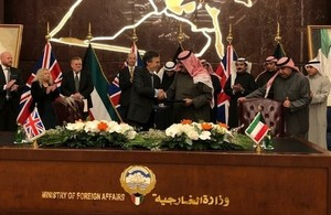 Minister for Middle East Dr Andrew Murrison and Deputy Foreign Minister Khaled Al-Jarallah signing the JSG action plan