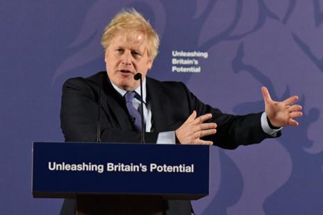PM Boris Johnson gives a speech in Greenwich