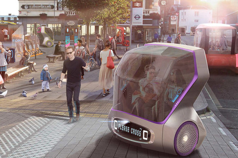 Image with artistic depiction of the use of computer controlled car in the future.