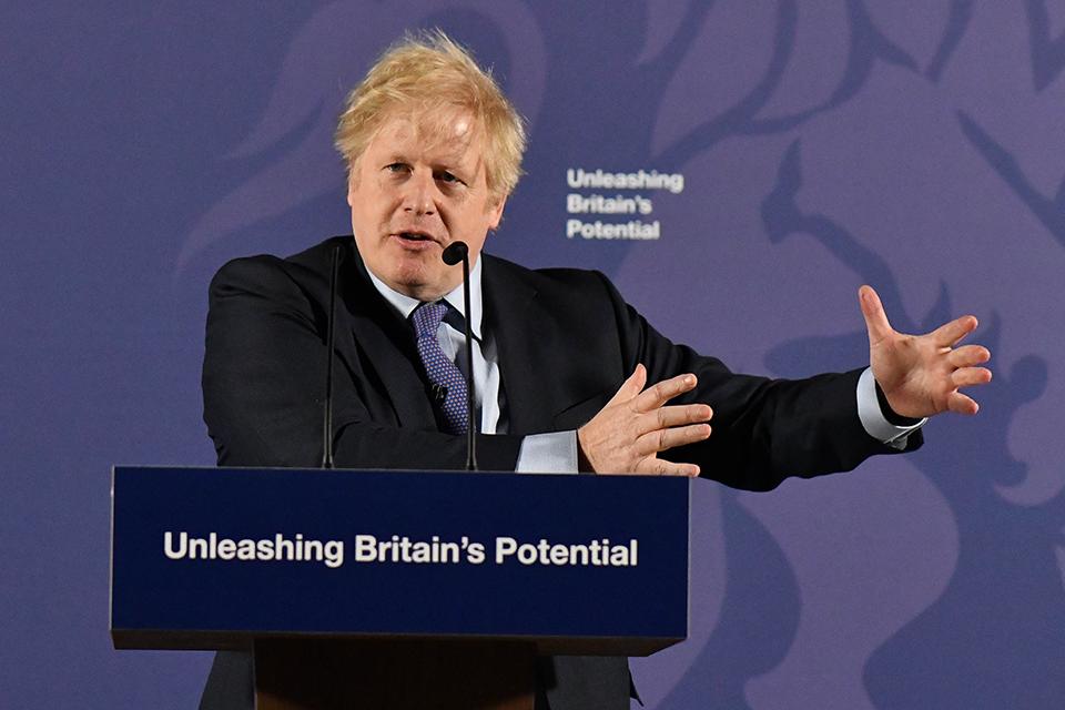 Prime Minister Boris Johnson speaking about unleashing Britain's potential