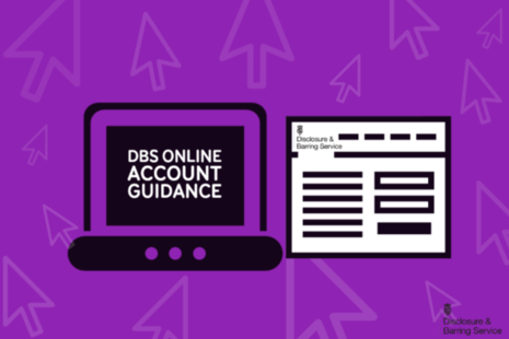Laptop screen showing 'DBS online account guidance'