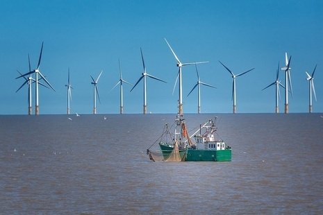Wind farms and fishing boat