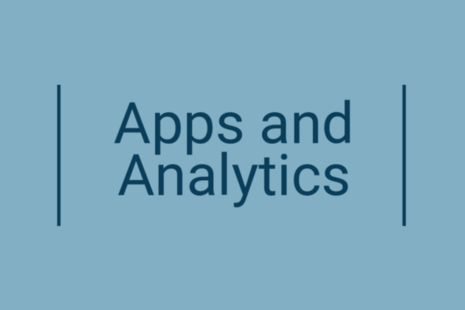 Pale blue background with the words Apps and Analytics picked out in a darker blue in the centre.