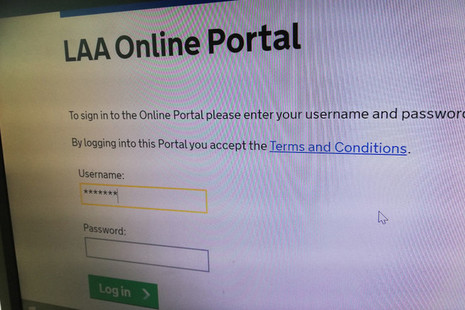 Image shows log-in screen for the Legal Aid Agency's digital online portal to access the Contracted Work and Administration system, known as CWA