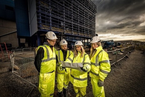 Apprentice Project Managers outside a facilty on the Sellafield site.