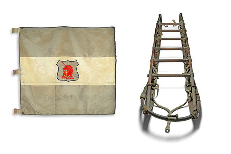 Flag and sledge from Shackleton's Nimrod expedition