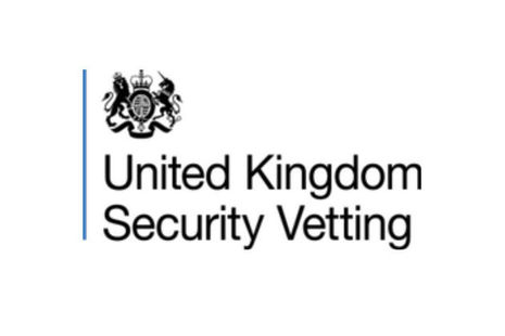 United Kingdom Security Vetting logo. Emblem and title name side by side.