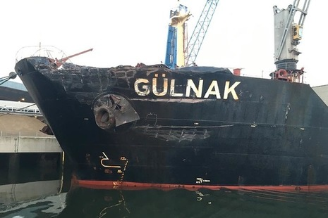 Damage to port bow of Gulnak