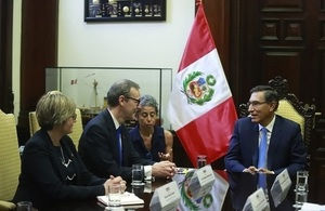 Permanent Under-Secretary Sir Simon McDonald and HMA Kate Harrisson with President of Peru Martin Vizcarra.