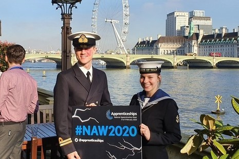 Apprentices celebrating NAW2020 at the House of Commons.