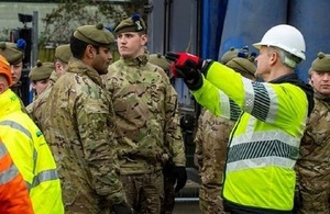Army personnel aiding the Environment Agency in Ilkley and Calderdale