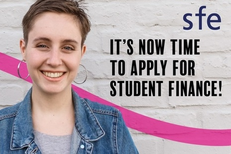 Photograph of a female student with the words apply now next to her