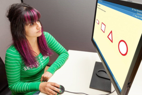 Photo of a woman sat at a computer, answering a theory test question