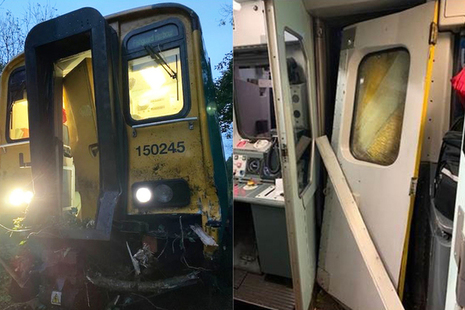 Photography of damage to the train front and driving cab area (images courtesy of Network Rail)