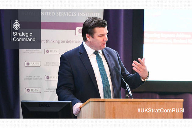 Minister for the Armed Forces, James Heappey speaking at the RUSI Conference.