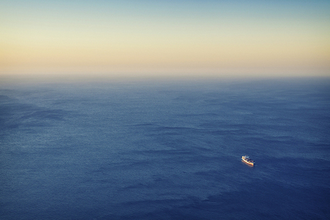 Ship sailing in open ocean