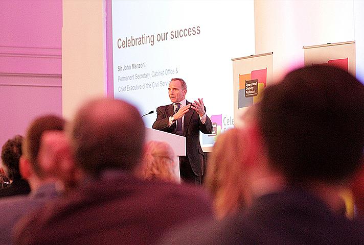 Sir John Manzoni speaking at the ODP Celebration Event