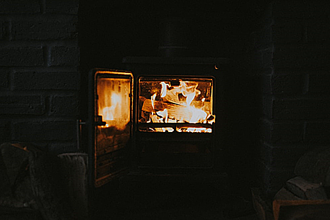 Fire burning in a wood burning stove
