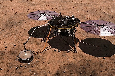 Artist's impression of the InSight mission on Mars