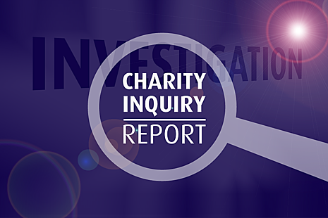 A magnifying glass with the words 'Charity inquiry report'.