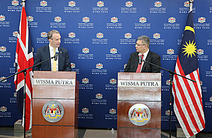 Foreign Secretary Dominic Raab at a press conference with Malaysian Foreign Minister Saifuddin Abdullah