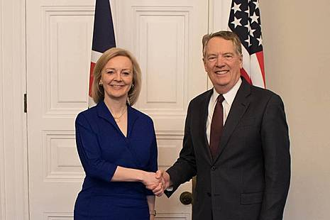 International Trade Secretary Liz Truss and US Trade Representative Robert Lighthizer