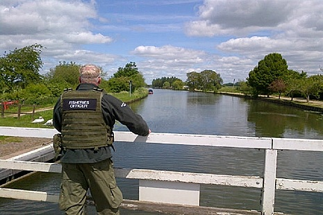Fisheries officer standing on a bridge looking out over the water