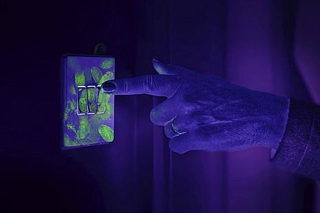 Ultraviolet photo of light switch.