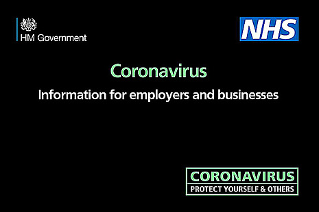 "Graphic image displaying the text ""Coronavirus - information for employers and businesses'"