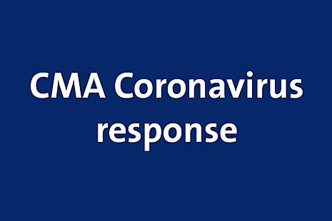 white text on a blue background, text reads: CMA Coronavirus response