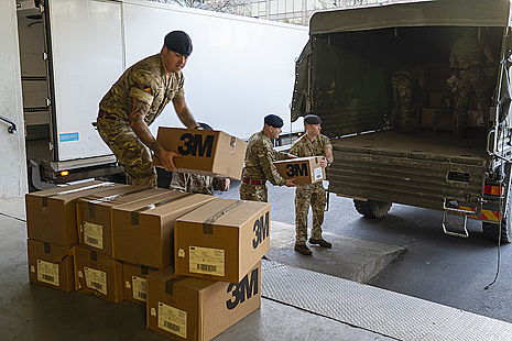 Soldiers from 101 Logistic Brigade delivering Personal Protective Equipment to St Thomas' hospital in London to boost vital stocks for the NHS doctors and nurses.