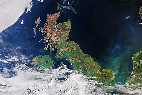 Satellite image of UK