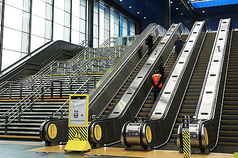 Escalator at Reading railway station.