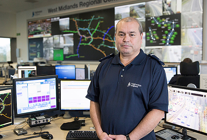 Image showing Frank Bird along colleagues in the control room at the West Midlands Regional Operations Centre.
