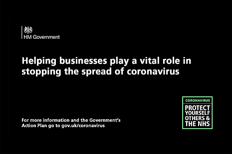 Text reads: Helping businesses play a vital role in stopping the spread of coronavirus