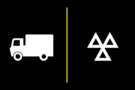 Illustration of a lorry and MOT triangle symbol