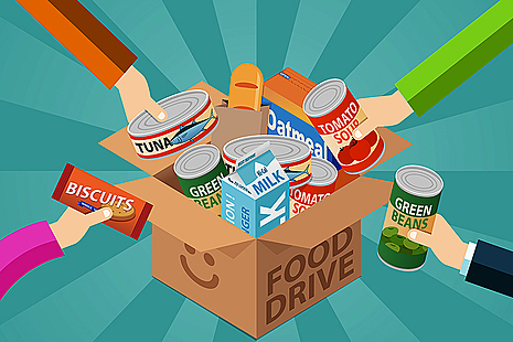 Animated image showing various food items placed into a cardboard box