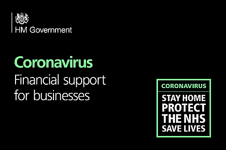 Graphic with words 'Coronavirus Financial support for businesses' and HM Government Logo