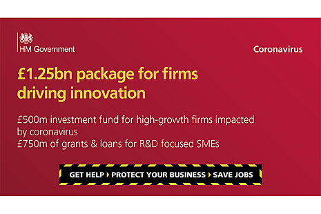 graphic headlining 2 main points in the news story - £ 1.25 bn new funding for innovative businesses